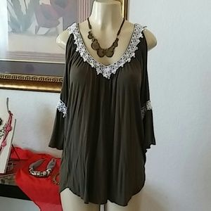 G Collection casual cold shoulder blouse